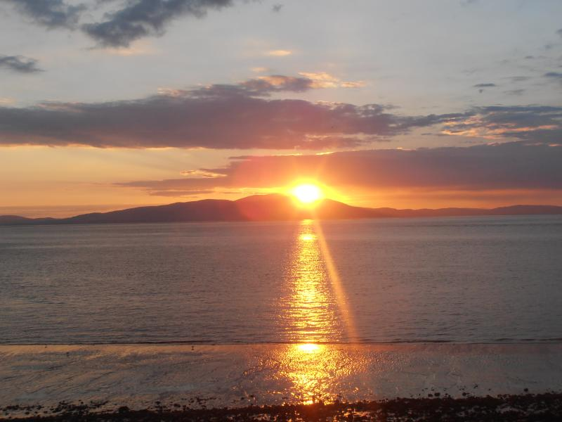 sunset from the prom at silloth over criffel.
