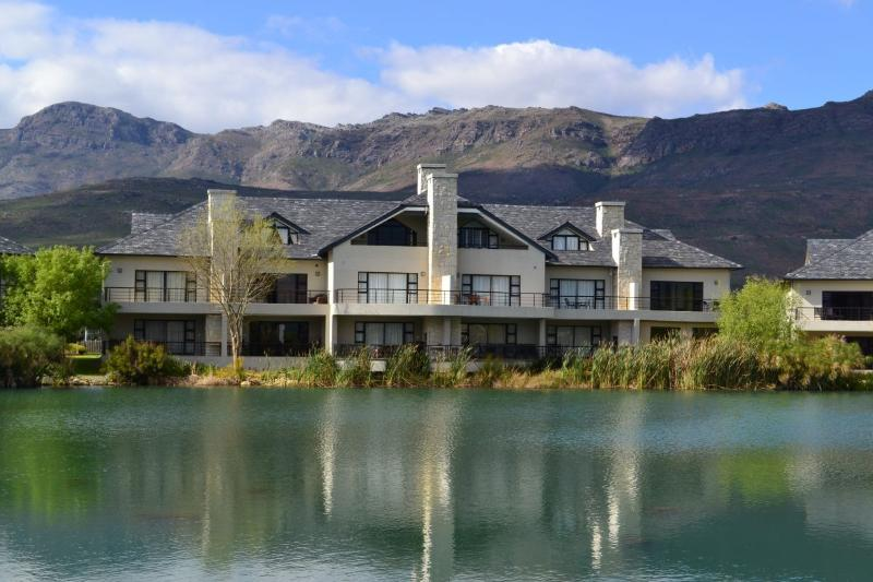 Front view of the Pearl Valley Golf Villa overlooking a lake