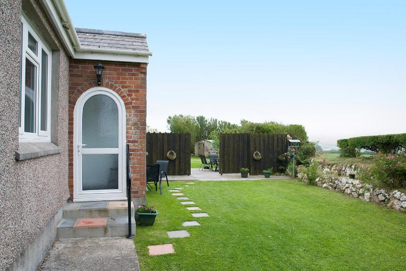 Sun trap garden with sea views and separate play area