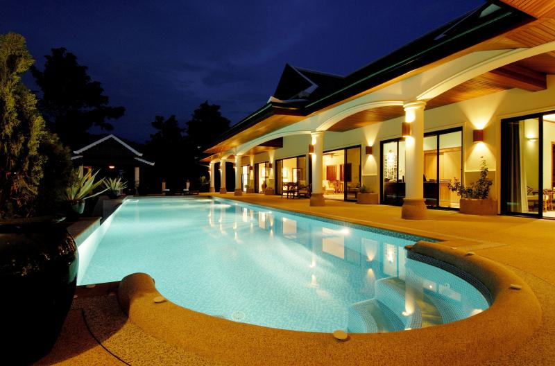 Pool and Terrace at night.