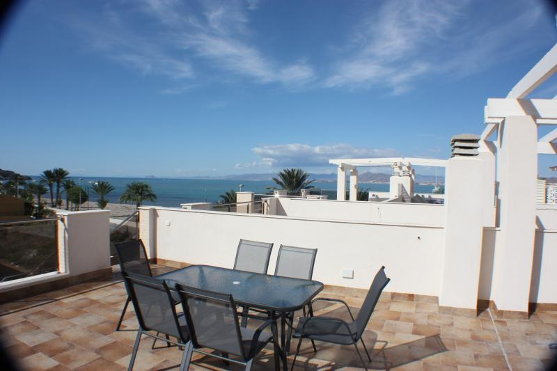 Terrace of the top floor flat with sea view and mountain view