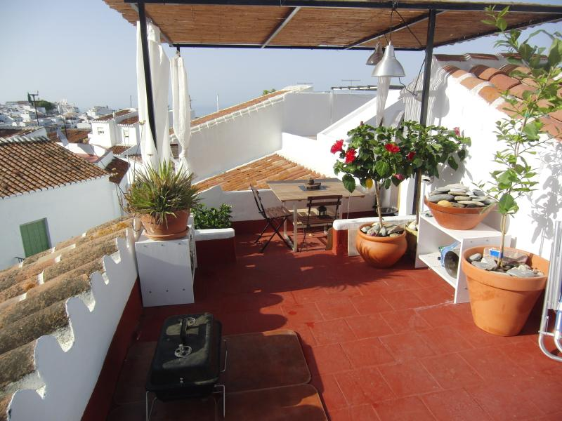 Roof terrace; Mediterranean Sea in the distance