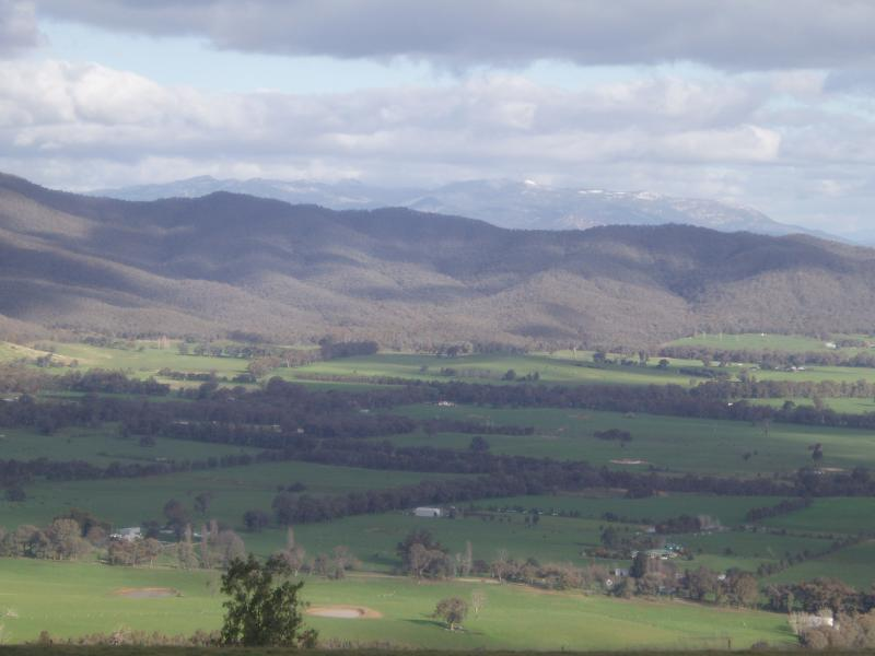 View across the Ovens Valley to Mt Buffalo(snow capped)