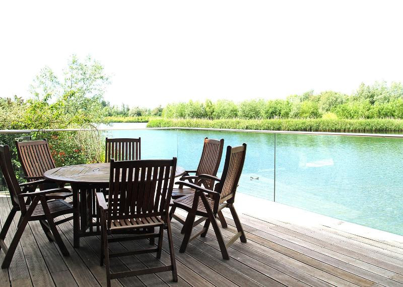Outside dining on the deck is very private.