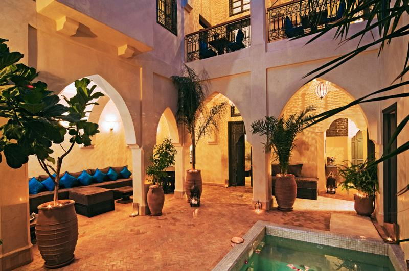 Patio and pool at riad Cinnamon