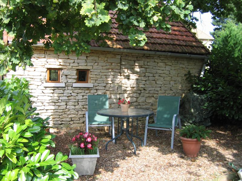 outside seating area under the great oak tree