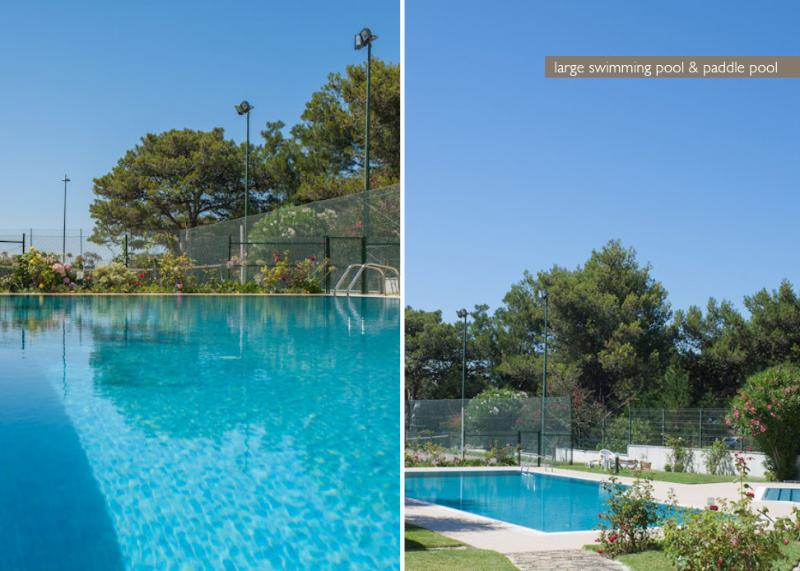 Swimming pool, loungers and tennis courts