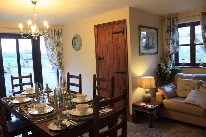 Spacious dining room with seating area, leading to down stairs bathroom room.