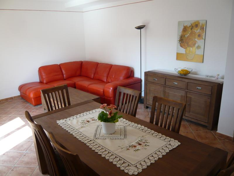 Living room with solid acacia wood furniture and comfortable sofa.