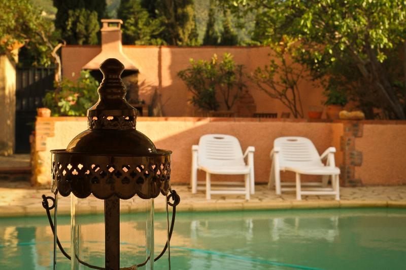 Swimming pool and Moroccan style patio