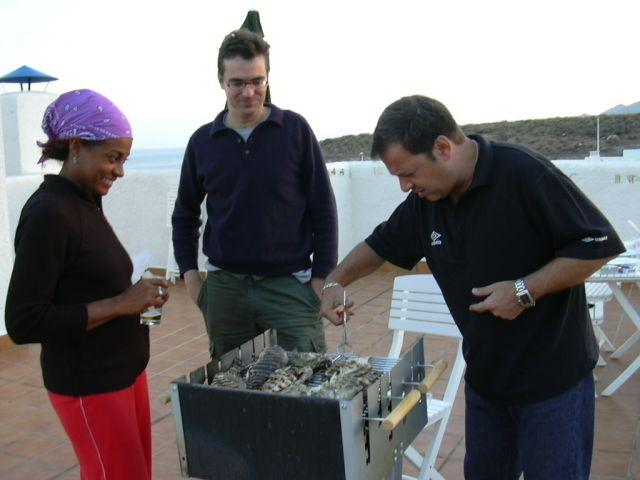 cooking fish on the terrace barbecue