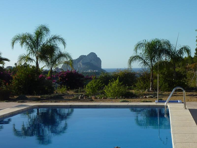 View of the Ifach Rock from the swimming pool