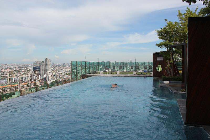 Infinity rooftop pool with city view.