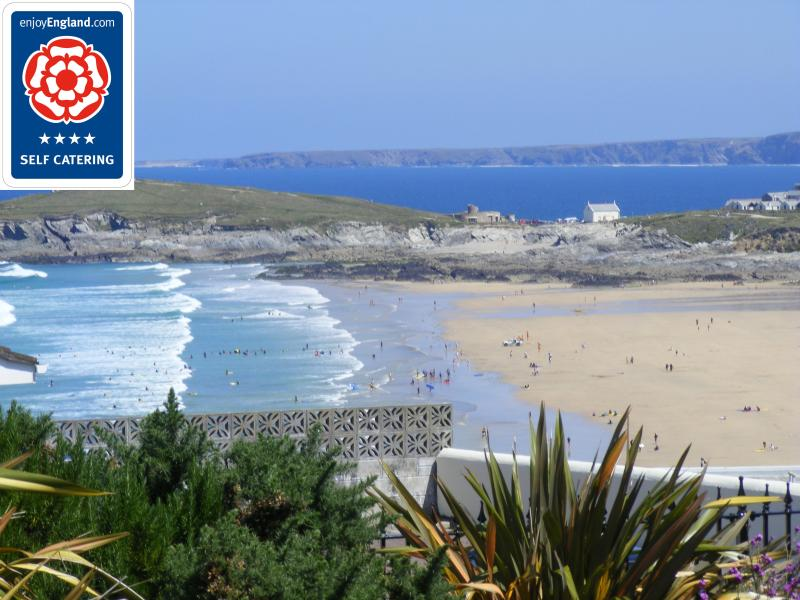 Fistral Beach from landscaped grounds of Fistral Retreats