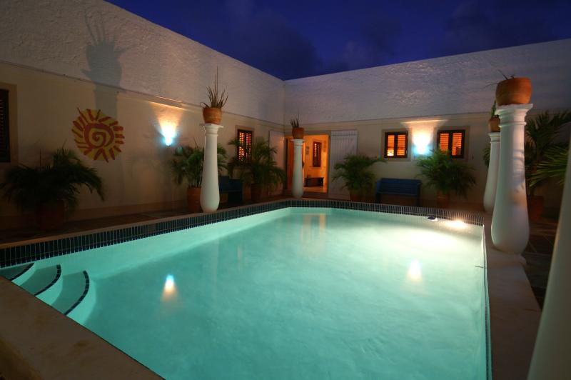 Sunny Seaview on Bonaire: swimming pool on patio