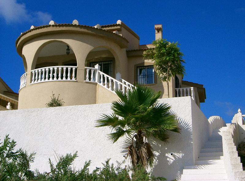 Our Spanish villa, taken from the steps down to the pool