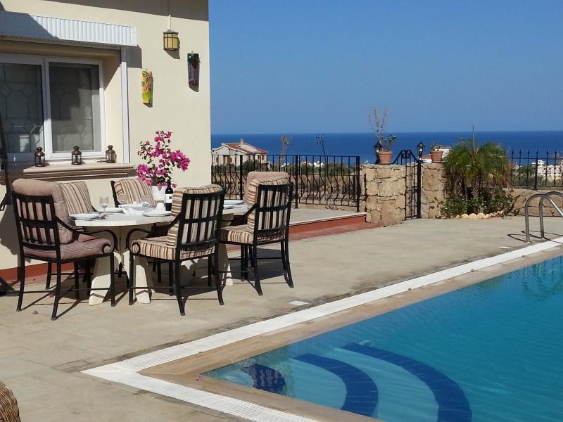 Secure and private 8 x 4m Overflow pool with fantastic sea views