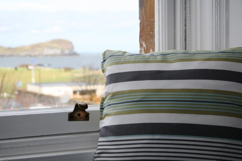 The lounge looking over the Firth of Forth has window seats creating a real room with a view