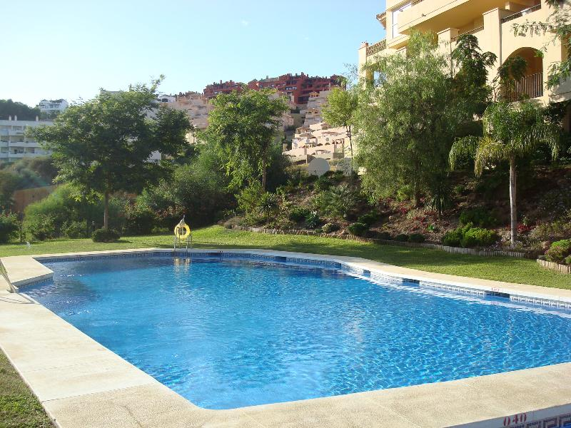 large pool and kids pool sunbeds just in front of apartment