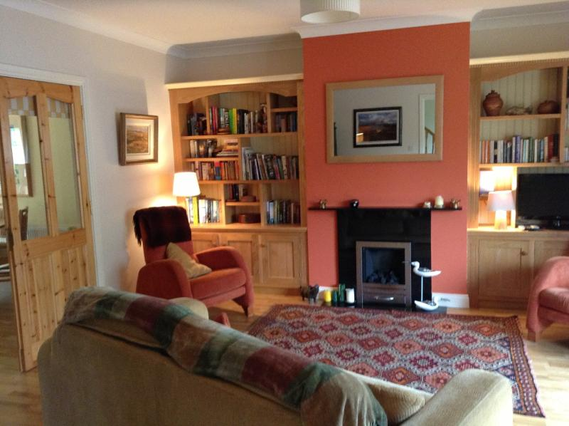 The sitting room, lovely gas fire for those chilly evenings, with a great choice of books and cd&#03