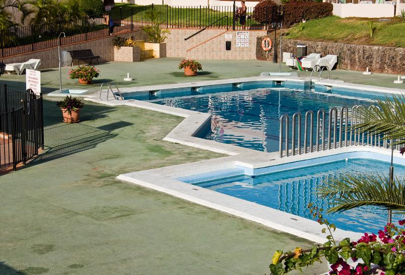View of Pools from Balcony showing the main pool and childrens pool