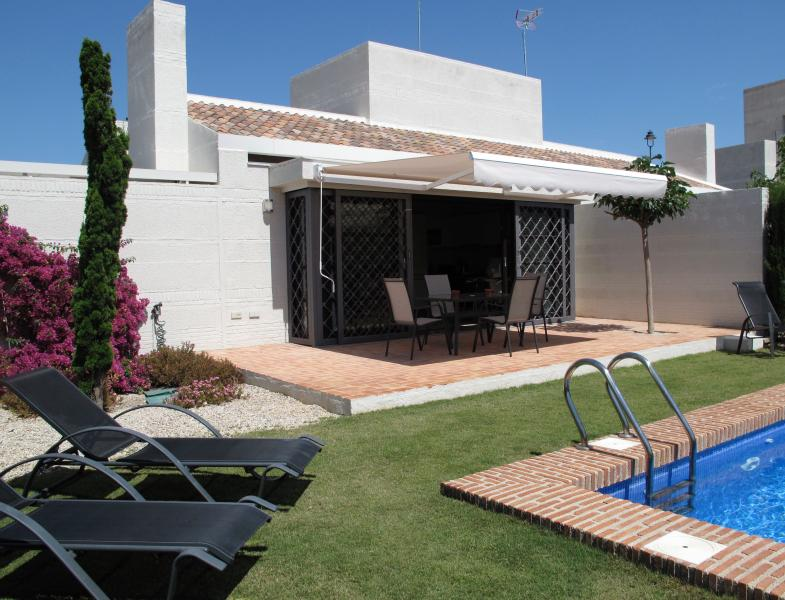 Pool and large terrace with sun awning