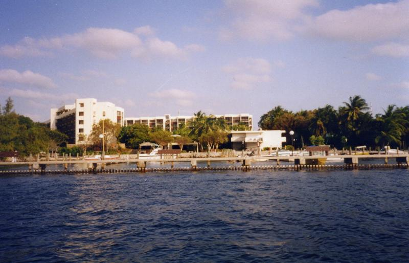 Picture taken from the sea showing the whole complex