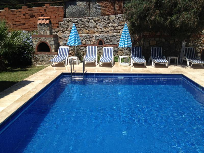 Pool with sunbeds and BBQ