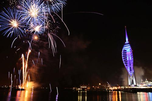 Spinaker Tower and New Years Fireworks