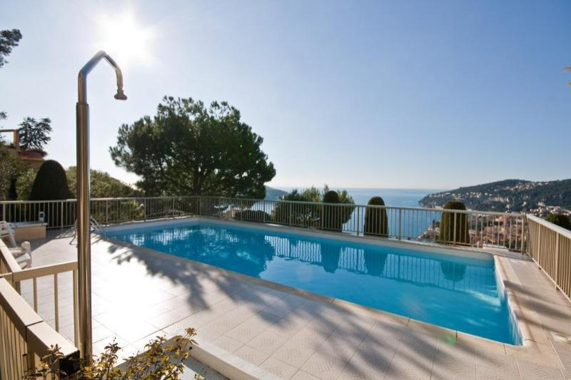 Swimming Pool at Cactus Roc and view over looking Villefranche Bay