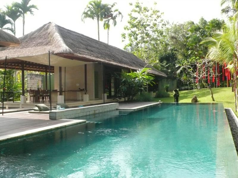 View of main villa and upper terrace from pool