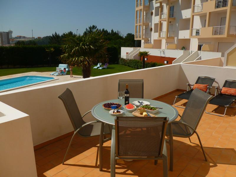 Our sunny poolside terrace