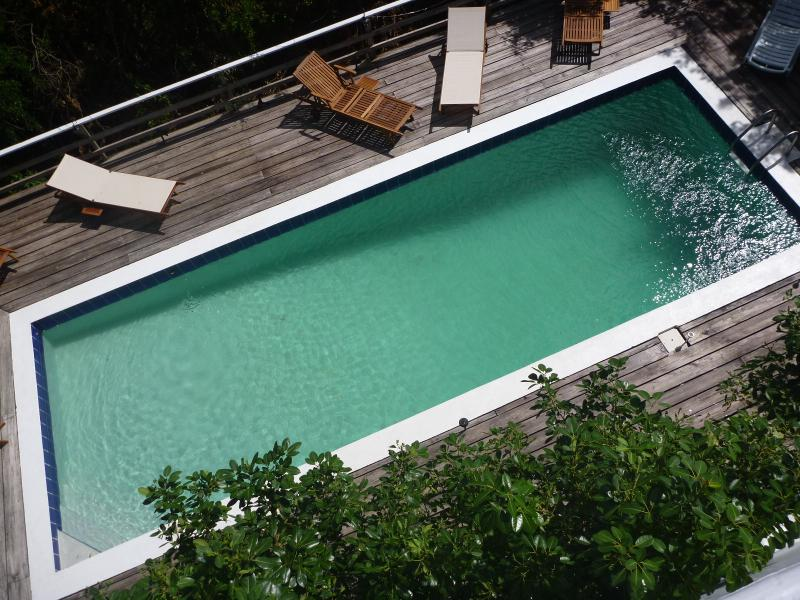 Large swimmingpool with deck taken from upper balcony