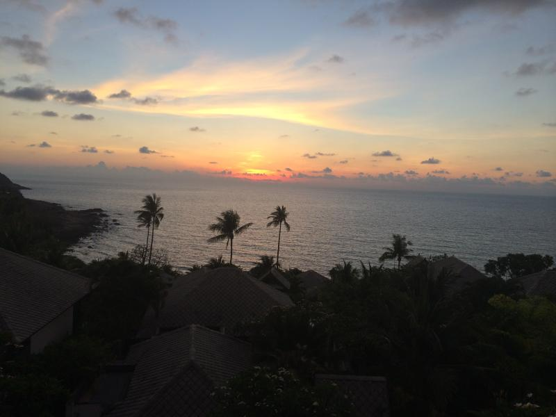Beautiful sunrise viewed from our pool terrace!