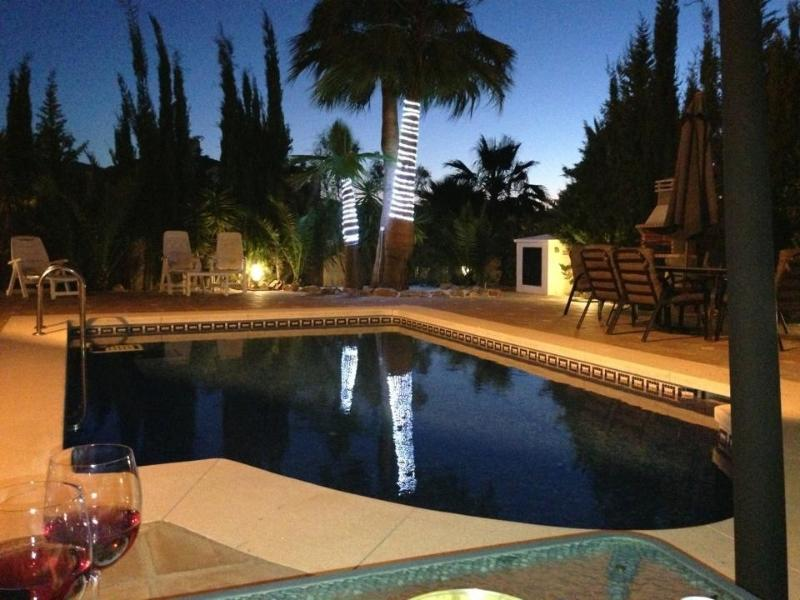 Warm evenings by the pool....relax on the patio sofas with a glass of wine and watch the stars !!