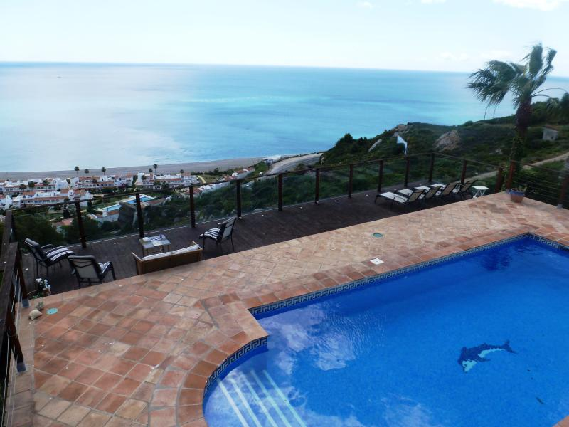Pool/Terrace & Deck overlooking the Med and over to North Africa