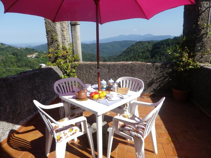 the terrace with a stunning view on the tuscan hills