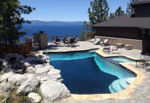 Private pool on the patio with panoramic lake view