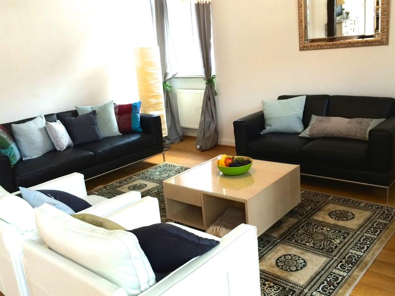 living room with leather sofas and silken carpet