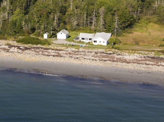 Crocketts Beach Cottage from the air - August 2014