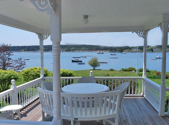 Great harbor views from the covered porch