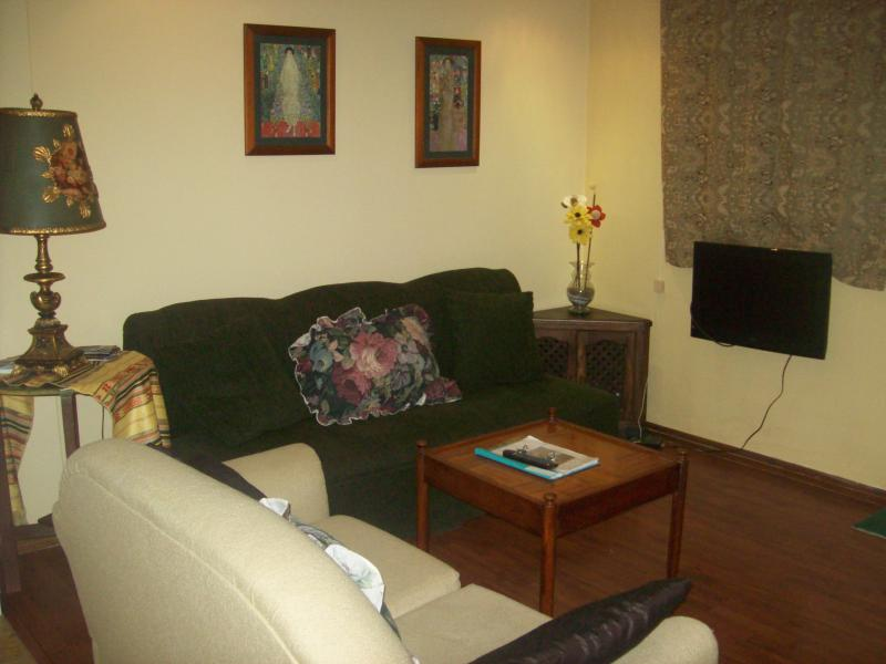 living room with flat screen tv, clean comfortable furniture