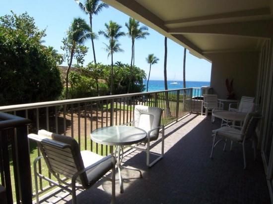 Ocean view from this second floor condo that is popular with families
