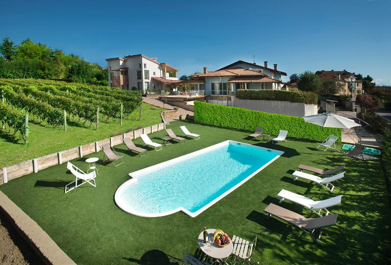 house with view on the pool and barolo vineyard