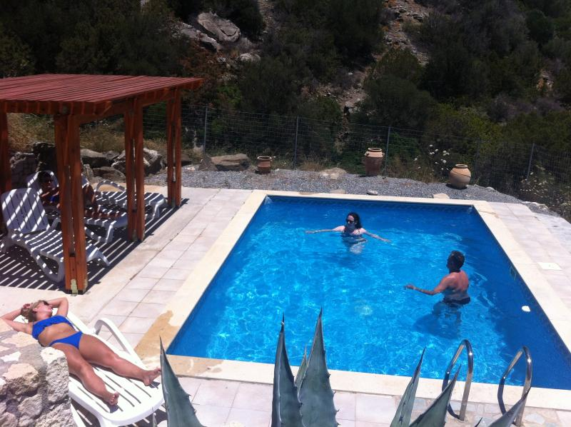 Our southcretevillas have Private pool with fantastic views and shaded lounging area