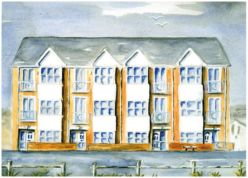 Beach Front - Watercolour of our seaside home