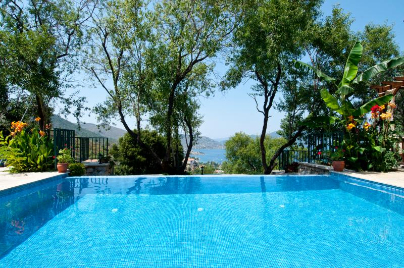 Villa Gelincik infinity pool, with views down to Selimiye Bay and the marina