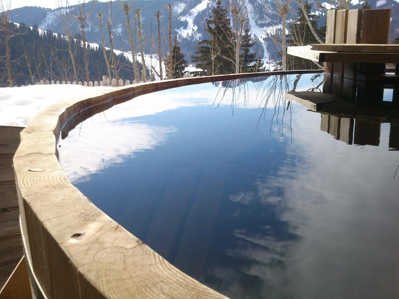 outdoor wood fired hot tub