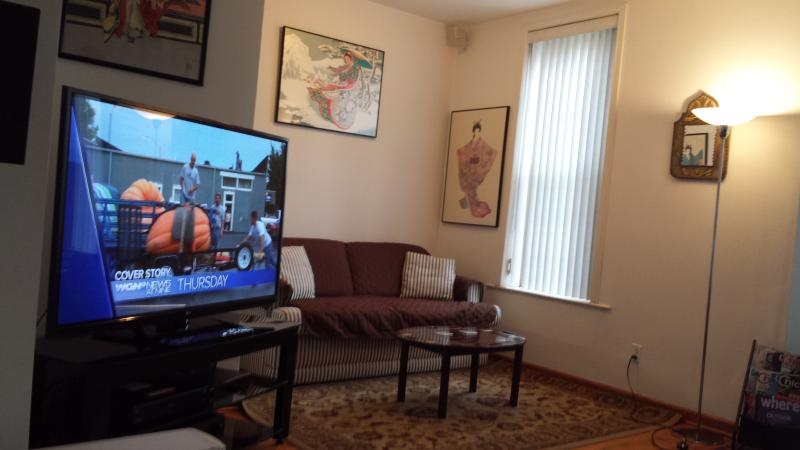 60 Inch HDTV, 6 channel Surround Sound and Bose Speakers and our 3rd Queen bed Sleeper Sofa.