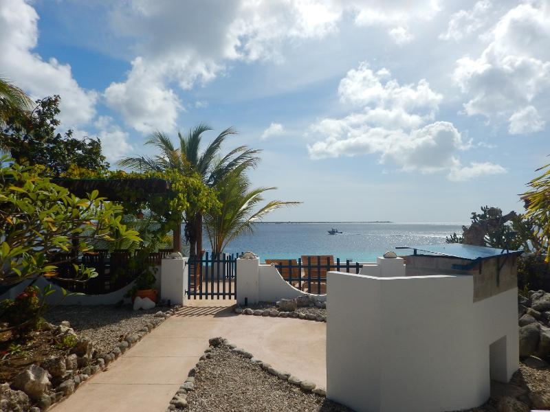 View from the tropical garden over the Caribbean Sea